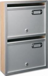 Buzón modelo Alcala-S (Deval) con cuerpo fabricado en melamina y puerta y perfiles de aluminio natural. Apertura hacia arriba. Fabricación a medida.