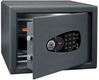 Caja Fuerte fábrica BTV de Superficie Serie Decora Modelo E-1030. Caja fuerte de protección standard, de diseño actual con cerradura electronica más llave. Color Gris grafito. Bulones de 20 mm de diámetro.