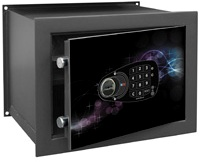 Caja Fuerte fábrica BTV de Superficie Serie Decora Modelo E-3625 Cosmos. Caja fuerte de protección standard, de diseño actual con cerradura electronica más llave. Color Gris grafito. Bulones de 20 mm de diámetro.
