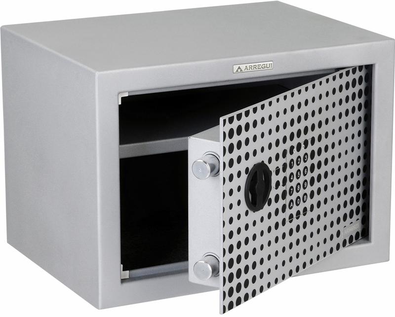 Caja fuerte de superficie ARREGUI Modelo Activa 16000-S2 - Cerradura Eléctronica + pomo. Seguridad standard, color gris ilusión plata. Dispone de llave de emergencia tubular.