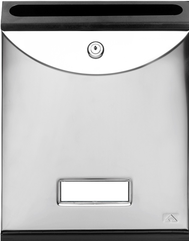 Buzón para comunidades Modelo Future Vertical de Arregui V-1027 con cuerpo de acero de color negro lacado y puerta Acero Inoxidable Brillo. Apertura hacia abajo. Tamaño pequeño.