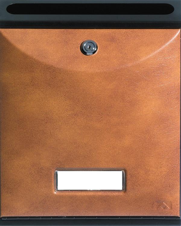 Buzón para comunidades Modelo Future Vertical de Arregui V-1027 con cuerpo de acero de color negro lacado y puerta decoración cuero. Apertura hacia abajo. Tamaño pequeño.