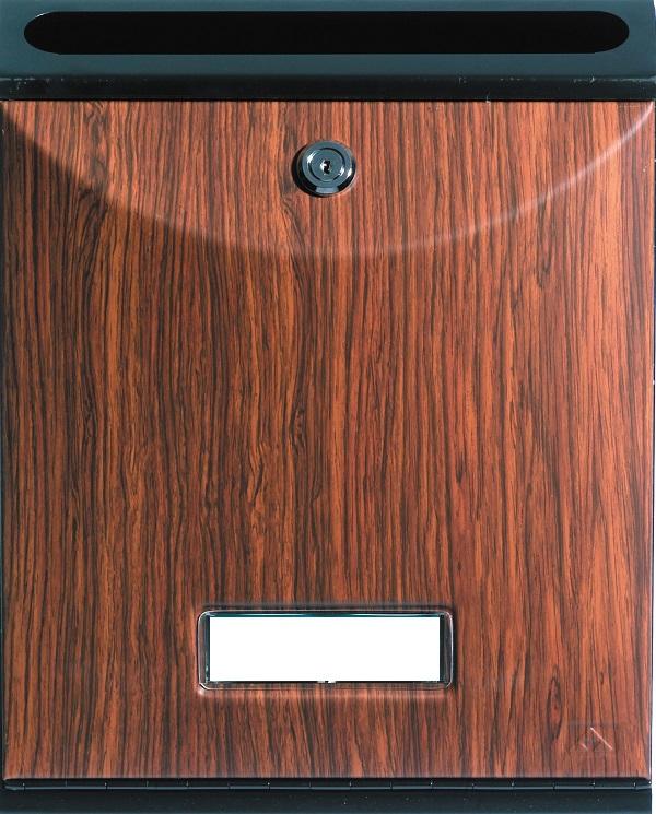 Buzón para comunidades Modelo Future Vertical de Arregui V-1027 con cuerpo de acero de color negro lacado y puerta decoración etimoe. Apertura hacia abajo. Tamaño pequeño.