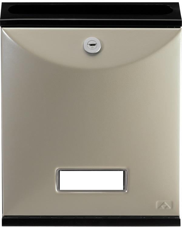 Buzón para comunidades Modelo Future Vertical de Arregui V-1027 con cuerpo de acero de color negro lacado y puerta nacar. Apertura hacia abajo. Tamaño pequeño.