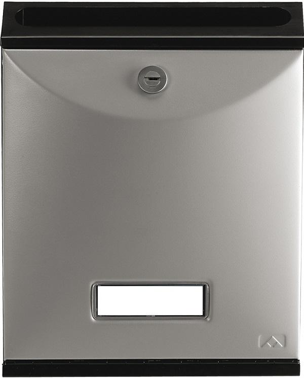 Buzón para comunidades Modelo Future Vertical de Arregui V-1027 con cuerpo de acero de color negro lacado y puerta Plata Perla. Apertura hacia abajo. Tamaño pequeño.