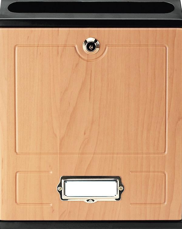 Buzón para comunidades Modelo Future Vertical de Arregui V-1027 con cuerpo de acero de color negro lacado y puerta de melamina Haya. Apertura hacia abajo. Tamaño pequeño.