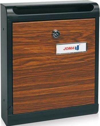 Buzon Modelo Hall-10 fabricado en chapa de acero electrozincada, con cuerpo en color NEGRO MATE y puerta metálica DECORACION MONGOI. Apertura hacia abajo. Tarjetero de plástico.