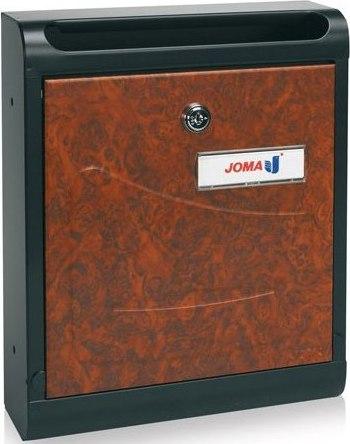 Buzon Modelo Hall-10 fabricado en chapa de acero electrozincada, con cuerpo en color NEGRO MATE y puerta metálica DECORACION RAIZ. Apertura hacia abajo. Tarjetero de plástico.