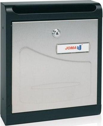 Buzon Modelo Hall-10 fabricado en chapa de acero electrozincada, con cuerpo en color NEGRO MATE y puerta en ACERO INOXIDABLE BRILLO AISI 430. Apertura hacia abajo. Tarjetero de plástico.