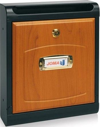 Buzon Modelo Hall-10 fabricado en chapa de acero electrozincada, con cuerpo en color NEGRO MATE y puerta en MADERA DE CASTAÑO. Apertura hacia abajo. Tarjetero de plástico.