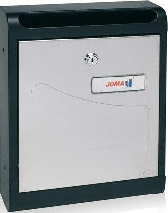 Buzon Modelo Hall-10 fabricado en chapa de acero electrozincada, con cuerpo en color NEGRO MATE y puerta en color PINTURA ALUMINIO - Pintura antihuellas. Apertura hacia abajo. Tarjetero de plástico.