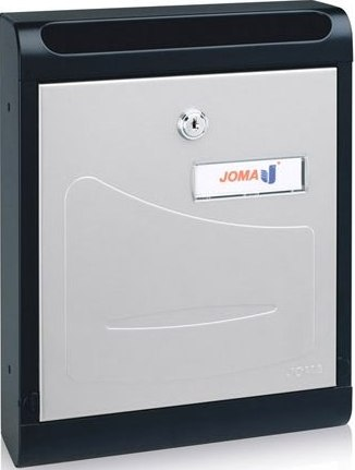 Buzon Modelo Hall-10 fabricado en chapa de acero electrozincada, con cuerpo en color NEGRO MATE y puerta en color PINTURA INOX - Pintura antihuellas. Apertura hacia abajo. Tarjetero de plástico.
