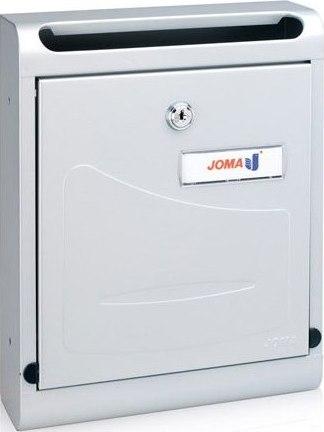 Buzon Modelo Hall-10 fabricado en chapa de acero electrozincada, con cuerpo y puerta en PINTURA ALUMINIO - pintura antihuellas. Apertura hacia abajo. Tarjetero de plástico.