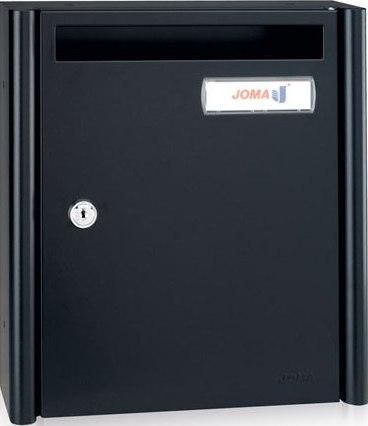 Buzón Modelo HALL-5 fabricado en chapa de acero electrozincado con cuerpo y puerta en color Negro Mate. Apertura lateral. Tarjetero de plástico y cerradura de seguridad.