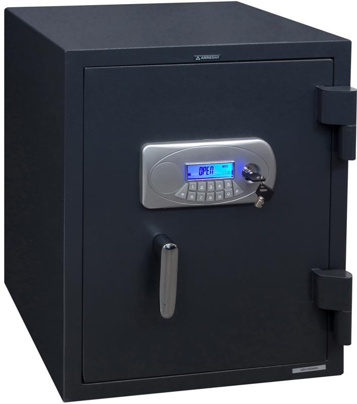 Caja fuerte de ARREGUI modelo IGNUM - IgnífugaSoporta temperatura interior por debajo de los 120 ºC con temperatura exterior de 1030 ºC durante 1 hora. Electrónica con llave de emergencia tubular.