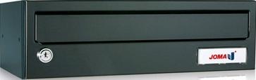 Buzon modelo Kompact H-360 (Joma) con cuerpo y puerta fabricado en chapa de acero electrocincada pintada en color negro. Ideal para exterior e interior. Tamaño revistero. Apertura lateral.