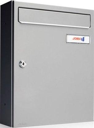Buzón Modelo KOMPACT V-270 fabricado en chapa de acero electrozincado, con cuerpo y puerta en color Pintura Inox. Pintura antihuellas. Apertura lateral. Tarjetero de plástico y cerradura de seguridad.