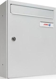 Buzón Modelo KOMPACT V-270 fabricado en chapa de acero electrozincado, con cuerpo y puerta en color Pintura Aluminio. Pintura antihuellas. Apertura lateral. Tarjetero de plástico y cerradura de seguridad.