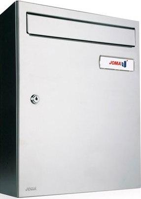 Buzón Modelo KOMPACT V-270. Fabricado en chapa de acero electrozincado, con cuerpo Negro Mate y puerta de Acero inoxidable brillo Aisi 430. Apertura lateral. Tarjetero de plástico y cerradura de seguridad.