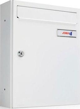 Buzón Modelo KOMPACT V-270 fabricado en chapa de acero electrozincado, con cuerpo y puerta en color Blanco Nieve. Apertura lateral. Tarjetero de plástico y cerradura de seguridad.
