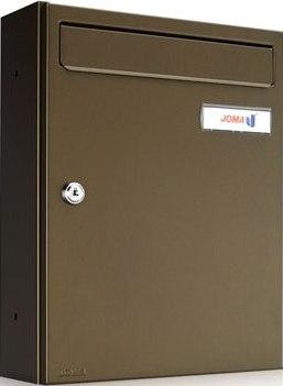 Buzón de superficie modelo Kompact V-270 (Joma) fabricado en acero electrocincado pintado en color bronce. Apertura lateral. Tamaño revistero.