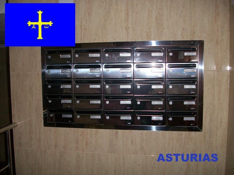 Buzones y complementos de comunidades mas vendidos e instalados en el Principado de Asturias - Buzón de acero inoxidable empotrado con tapajuntas a juego.