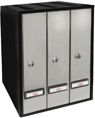 Buzón Modelo Prisma-29 carga superior formato libro, con cuerpo de acero pintado color negro y puerta de acero pintado color plata.Apertura lateral.Agrupaciones de 3 y 4 buzones.