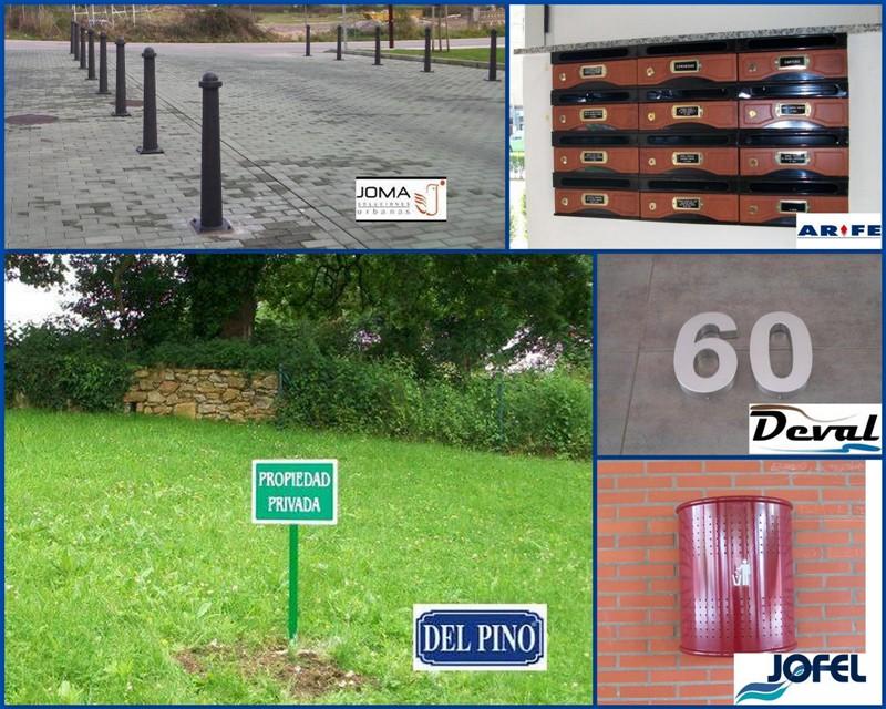 Complementos de comunidad instalados de fábricas como Joma, Del Pino, Deval, Jofel ó de buzones con puerta de melamina de Arfe.