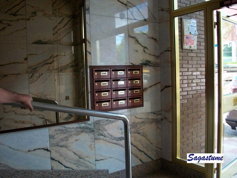 Buzones modelo Hall-20 (Joma) con puerta de madera de bubinga empotrados y con tapajuntas perimetral a juego.