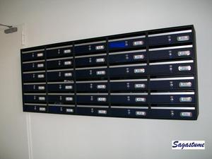 Buzón modelo Avant (Btv) con puerta de metacrilato azul y cuerpo de color negro.