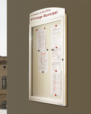 Sagastume Buzones - PANEL INFORMATIVO MODELO OXYGEN 35 - Distribuidores nacionales de buzones, tablones de anuncios, cestas de publicidad, señalizaciones, papeleras,... dirigido a comunidades de propietarios y administradores de fincas.